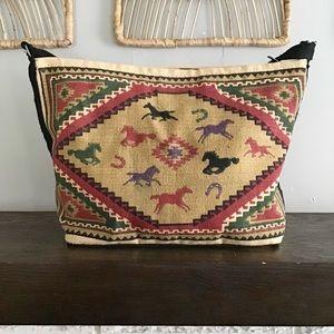Vintage Kilim Tapestry Boho Horse Tribal Aztec Bag